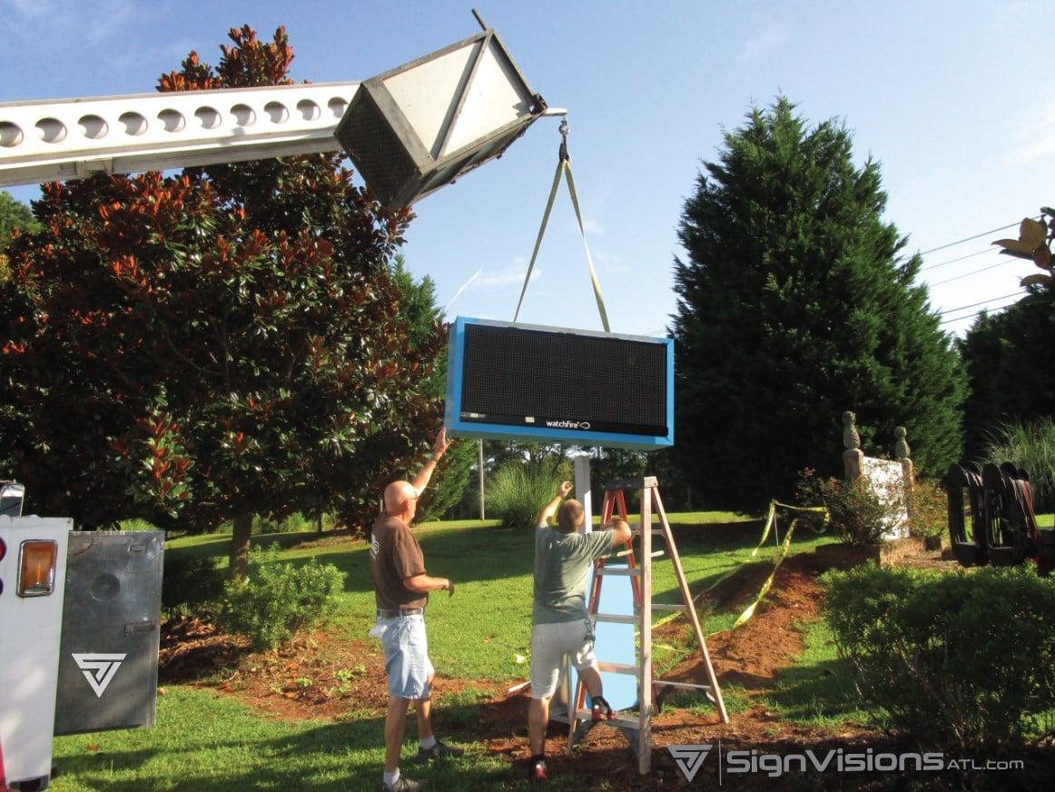 Installing an LED Reader Board Sign in Fayetteville GA